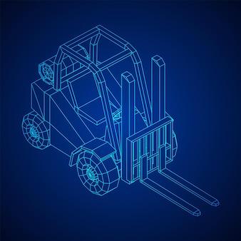 Carrello elevatore per caricatore. illustrazione vettoriale di wireframe low poly mesh.