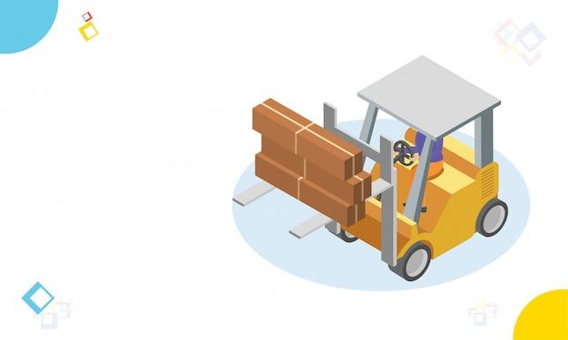 Carrello elevatore carico merci, logistica