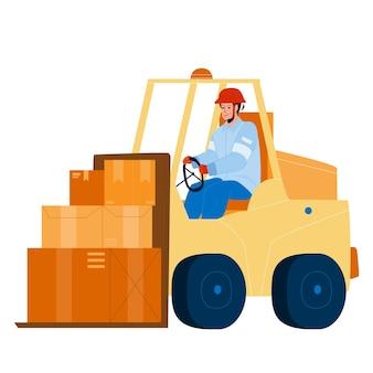 Carrello lavoratore guida carrello nel vettore di magazzino. carrellista trasporto e stoccaggio caricamento scatole di cartone. personaggio operatore uomo contenitori piatto cartoon illustration