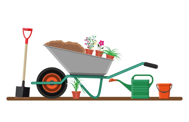 Giardino formale con carriola, fiori, pala