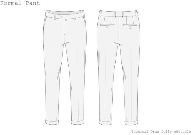 Pantaloni formali tecnici disegnati a mano