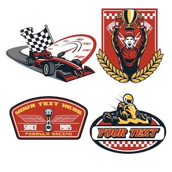 Formula car badge design illustrazione piatta