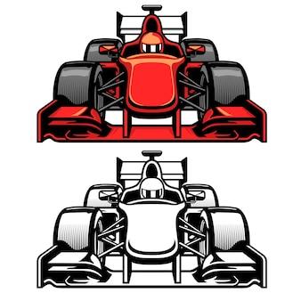 Vista laterale frontale della gara automobilistica di formula