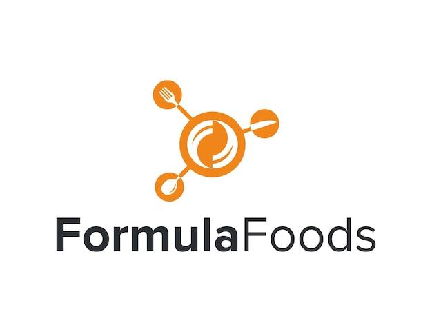 Simbolo formula con forchetta cucchiaio coltello cibo cerchio semplice elegante moderno logo design vettore