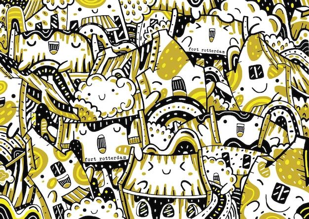 Doodle di fort rotterdam in stile design piatto