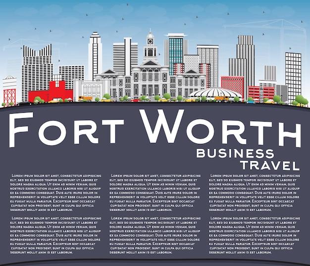 Orizzonte di fort worth con edifici grigi, cielo blu e spazio di copia. illustrazione di vettore. viaggi d'affari e concetto di turismo con architettura moderna. immagine per presentazione banner cartellone e sito web.
