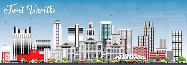 Orizzonte di fort worth con edifici grigi e cielo blu. illustrazione di vettore. viaggi d'affari e concetto di turismo con architettura moderna. immagine per presentazione banner cartellone e sito web.