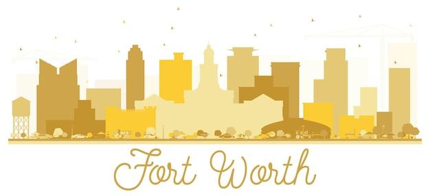 Siluetta dorata dell'orizzonte della città di fort worth texas usa. semplice concetto piatto per presentazione turistica, banner, cartellone o sito web. fort worth cityscape con punti di riferimento. illustrazione vettoriale.