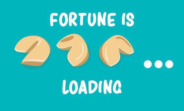 Banner di biscotti della fortuna la fortuna sta caricando l'illustrazione vettoriale