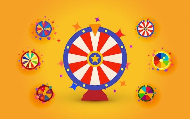 Ruote della fortuna impostate per casinò web, estrazioni a premi e premi in denaro, icone di ruote isolate