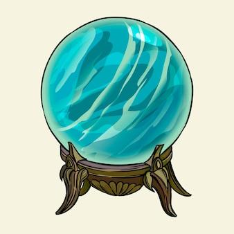 La sfera di cristallo del cartomante. illustrazione vettoriale disegnato a mano isolato su priorità bassa.