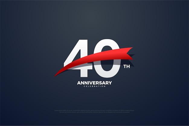 Celebrazione del quarantesimo anniversario con numeri bianchi e nastro rosso
