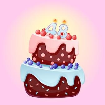Torta di compleanno di quarantotto anni con numero di candele 48. immagine vettoriale festivo simpatico cartone animato. biscotto al cioccolato con frutti di bosco, ciliegie e mirtilli. illustrazione di buon compleanno per le feste Vettore Premium