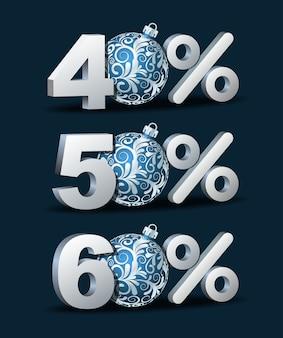 Icona di sconto quaranta, cinquanta e sessanta per cento con palle di natale blu