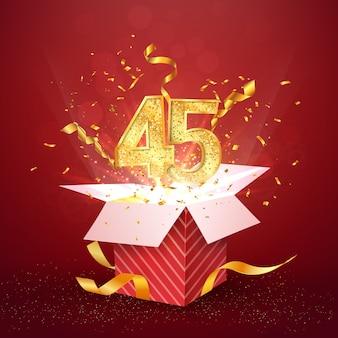 Quarantacinque anni numero anniversario e confezione regalo aperta con elemento di design isolato coriandoli esplosioni