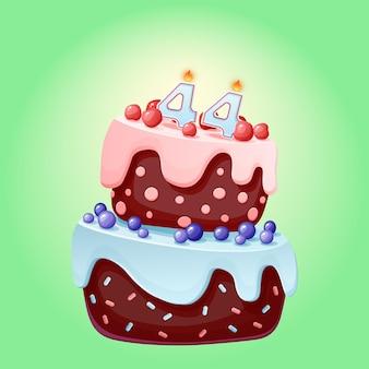 Torta di compleanno di quarantaquattro anni con numero di candele 44. immagine vettoriale festivo simpatico cartone animato. biscotto al cioccolato con frutti di bosco, ciliegie e mirtilli. illustrazione di buon compleanno per le feste