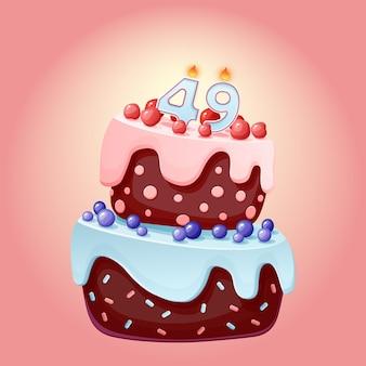 Torta di compleanno di quarantanove anni con numero di candele 49. immagine vettoriale festivo simpatico cartone animato. biscotto al cioccolato con frutti di bosco, ciliegie e mirtilli. illustrazione di buon compleanno per le feste