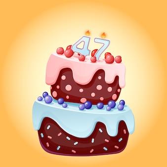 Torta di compleanno di quarantasette anni con numero di candele 47. immagine vettoriale festivo simpatico cartone animato. biscotto al cioccolato con frutti di bosco, ciliegie e mirtilli. illustrazione di buon compleanno per le feste