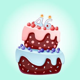 Torta di compleanno di quarantasei anni con numero di candele 46. immagine vettoriale festivo simpatico cartone animato. biscotto al cioccolato con frutti di bosco, ciliegie e mirtilli. illustrazione di buon compleanno per le feste