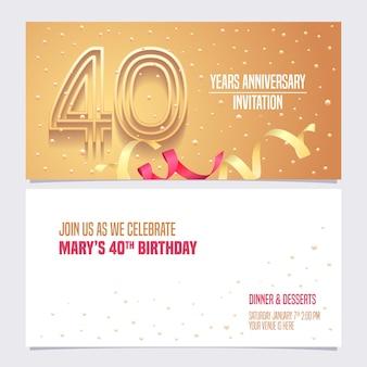 Scheda dell'invito di quarant'anni anniversario