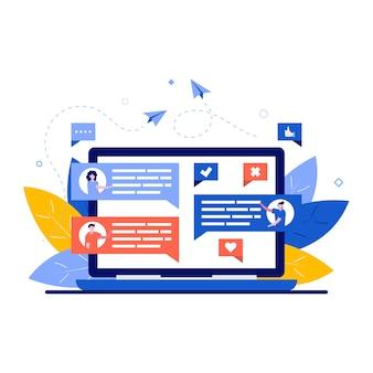 Forum, concetto di comunicazione internet con carattere.