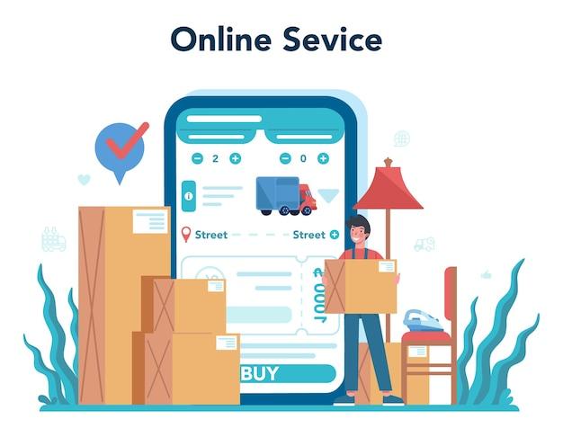 Servizio online di spedizioniere o set di piattaforme. caricatore in uniforme che trasporta un carico. concetto di servizio di trasporto.