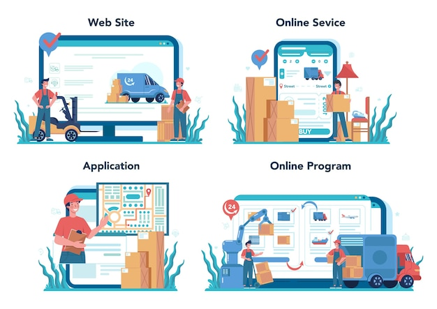 Servizio online di spedizioniere o set di piattaforme. caricatore in uniforme che consegna