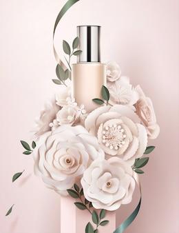 Annunci di bottiglie di fondotinta con camelie di carta e decorazioni di rose in illustrazione 3d