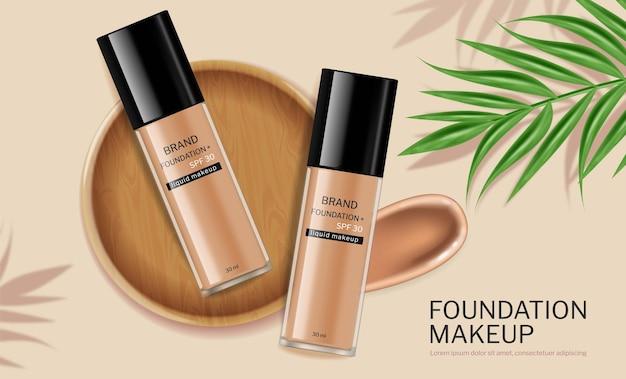 Fondotinta cosmetico vettoriale realistico per la cura della pelle bottiglie design etichetta posizionamento prodotto mock up
