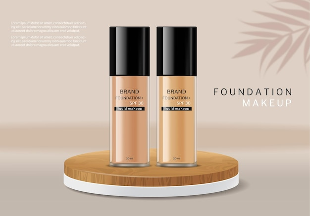 Fondotinta cosmetico vettoriale realistico. progettazione di etichette per bottiglie per la cura della pelle. mock up di posizionamento del prodotto