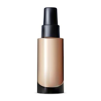 Bottiglia di crema per fondotinta, pacchetto base per il trucco cremoso, mockup di prodotto per la tinta della pelle lucida. design del pacchetto primer per sbavature. contenitore toner viso