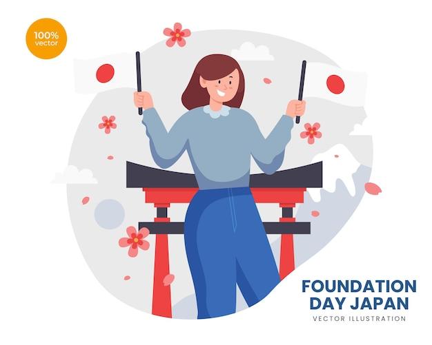 Idea dell'illustrazione di vettore del giappone di giorno di fondazione, la ragazza felice tiene la bandiera del giappone per festeggiare con il santuario, la montagna e il fiore di sakura dietro.