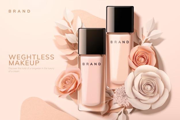 Fondazione in bottiglia di vetro con fiori di carta, illustrazione 3d