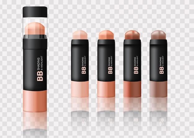Mockup di packaging per fondotinta per il viso in diverse tonalità illustrazione 3d vista dall'alto del trucco