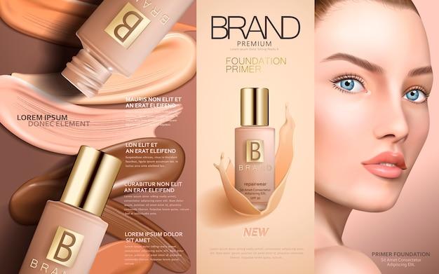 Primer per fondotinta contenuto in flaconi per la cosmetica con viso modello e sbavature di fondotinta colorate, illustrazione
