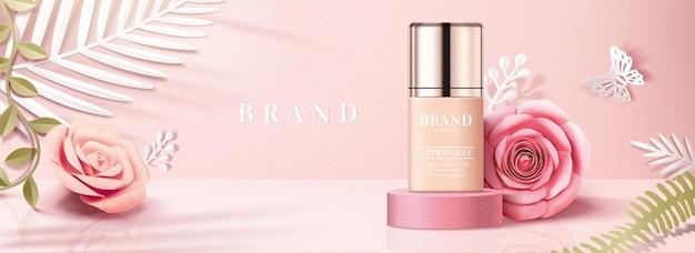 Banner pubblicitari di prodotti di fondazione con decorazioni di rose di carta in illustrazione 3d