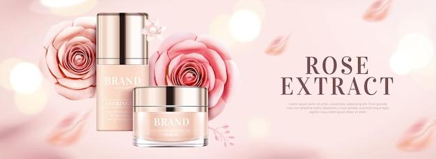 Banner pubblicitari di prodotti di base con decorazione di rose di carta ed effetto glitter in illustrazione 3d