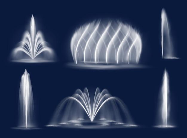 Set di cascate di getti d'acqua fontana