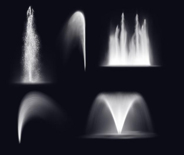 Getti d'acqua e spruzzi d'acqua della fontana, cascata realistica e getto d'acqua Vettore Premium