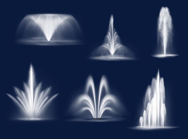 Fontane cascate, getti d'acqua vettore isolato impostati
