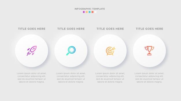 Quattro 4 passaggi opzioni cerchio timeline business infographic design moderno modello
