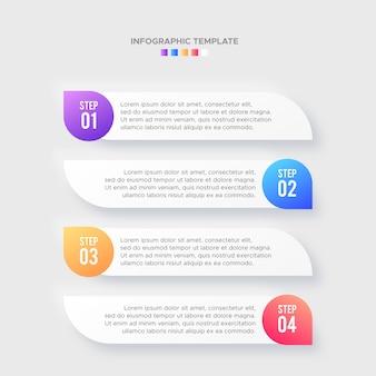Quattro 4 passaggi opzioni timeline business infographic design moderno modello