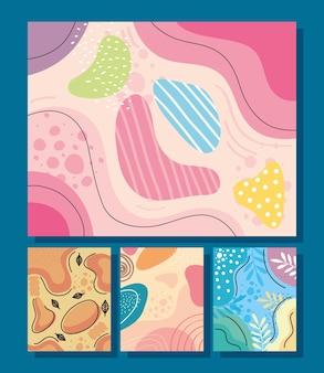 Quattro abstracs organics impostare sfondi illustrazione vettoriale design