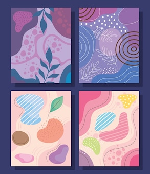 Quattro abstracs organics forme sfondi illustrazione vettoriale design