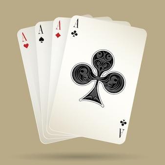 Quattro assi che giocano a carte sul fondo beige, vincendo la mano di poker. illustrazione vettoriale