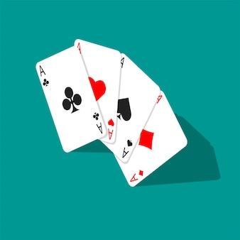 Quattro carte da poker assi isolate. carta da gioco isometrica.