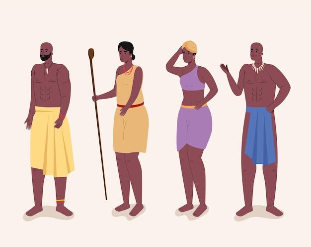 Quattro aborigeni africani Vettore Premium