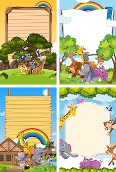 Quattro scene di sfondo con modello di bordo e molti animali selvatici