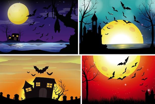 Quattro scene di sfondo con fullmoon durante la notte