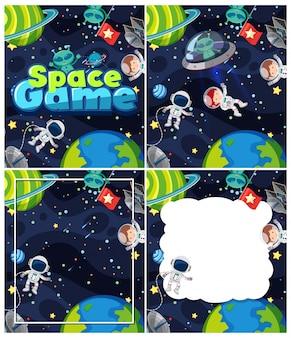 Quattro scene di sfondo con tema spaziale